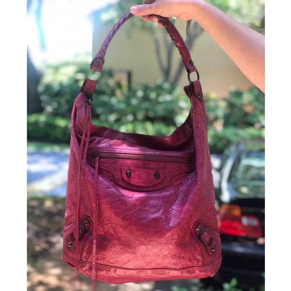 Balenciaga Handbags - Balenciaga Magenta Hot Pink Whipstitch Hobo Bag